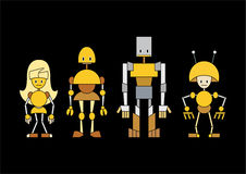 Cartoon robots family Royalty Free Stock Photos