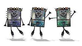Cartoon robots- Funny electronics Royalty Free Stock Image