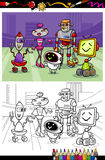 Cartoon robots group coloring book Stock Photo
