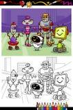Cartoon robots group coloring book Stock Photo