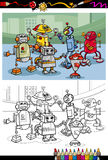 Cartoon robots group coloring page Royalty Free Stock Photos