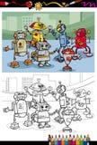Cartoon robots group coloring page Royalty Free Stock Photos