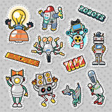 Cartoon Robots and Mechanic Machines Doodle. Stickers, Badges and Patches Royalty Free Stock Images