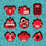 Cartoon robots and monsters faces. Cartoon robots and monsters faces in color on seamless pattern. illustration stock illustration