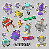 Cartoon Robots and Retro Style Electronics Doodle. Stickers, Badges and Patches Stock Photo