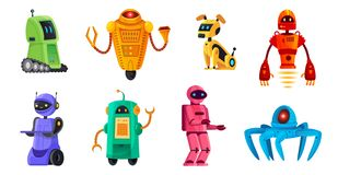 Cartoon robots. Robotics bots, robot pet and robotic android bot characters technology vector illustration set. Cartoon robots. Robotics bots, robot pet and royalty free illustration