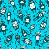 Cartoon Robots Seamless Background. stock images