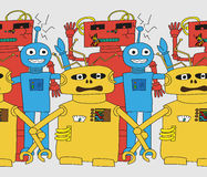Cartoon robots seamless pattern. In bright colour Royalty Free Stock Images