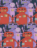 Cartoon robots seamless pattern. In bright colour vector illustration