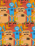 Cartoon robots seamless pattern. Cartoon robots seamless pattern in bright colour vector illustration
