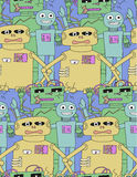 Cartoon robots seamless pattern. Royalty Free Stock Photography