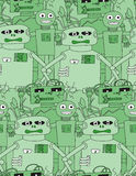 Cartoon robots seamless pattern. In green colour vector illustration