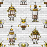 Cartoon Robots Seamless Royalty Free Stock Photography