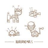 Cartoon robots set. Cartoon robots animals set. Vector image. Doodle stile royalty free illustration