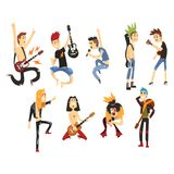 Cartoon rock artists characters singing and playing on musical instruments. Guys with colorful haircuts. Guitarists and. Cartoon rock artists characters singing Royalty Free Stock Image