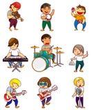 Cartoon rock band icon. Drawing Stock Image