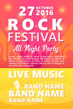 Cartoon Rock festival design template with crowd on back and place for text. Rock festival design template with crowd on back and place for text Royalty Free Stock Photo