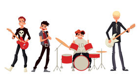 Cartoon rock group musicians vector illustration Stock Photos