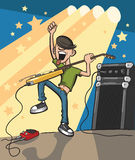 Cartoon rock guitarist on stage. Vector illustration of Cartoon rock guitarist on stage. Easy-edit layered vector EPS10 file scalable to any size without quality Royalty Free Stock Photo
