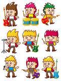 Cartoon rock music band icon. Vector drawing Stock Images