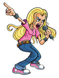Cartoon Rock n Roll woman Stock Images