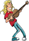 Cartoon rock singer with guitar. Stock Photo