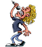 Cartoon rock singer with microphone Stock Photography