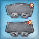 Cartoon Rock And Stone Agreement Panel For Ui Game. Illustration of a funny cartoon simple ui game stone information panel, with buttons for questions, options royalty free illustration