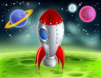 Cartoon Rocket On Alien Planet. An illustration of a cartoon retro space rocket ship or space ship landed on a moon or planet with alien planets and stars in the stock illustration