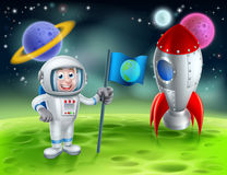 Cartoon Rocket Astronaut Scene. An illustration of a cartoon astronaut and retro space rocket ship or space ship landed on a moon or planet with alien planets vector illustration