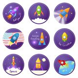Cartoon rocket 3D vector illustration set Royalty Free Stock Image