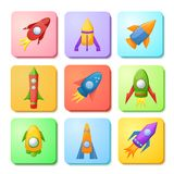 Cartoon rocket 3D vector illustration set Stock Image