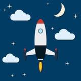 Cartoon rocket flat vector illustration Stock Image