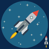 Cartoon rocket flat vector illustration Royalty Free Stock Photos