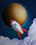Cartoon rocket in front of the planet Royalty Free Stock Photo