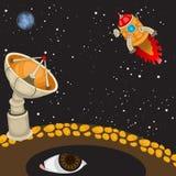 Cartoon rocket landing Stock Photography