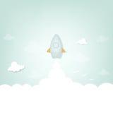 Cartoon rocket launch Royalty Free Stock Photos
