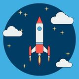 Cartoon rocket launch flat vector illustration Royalty Free Stock Images