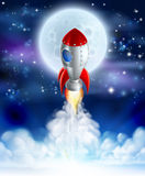 Cartoon Rocket Launch. An illustration of a cartoon rocket lifting off or launching in front of a full moon royalty free illustration