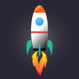 Cartoon rocket launching. Icon vector Stock Images