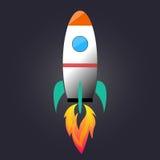 Cartoon rocket launching Stock Images