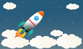 Cartoon rocket launching on night sky stars Royalty Free Stock Images