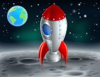 Cartoon Rocket on the Moon Stock Photos