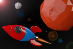 Cartoon Rocket near Red Planet. 3d Rendering Stock Photos