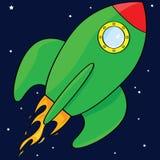 Cartoon rocket ship. Cartoon illustration of a green rocket ship in space Royalty Free Stock Image