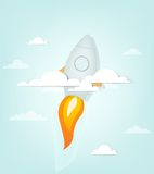 Cartoon rocket ship in the sky Stock Photos