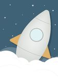 Cartoon rocket ship in space Royalty Free Stock Images