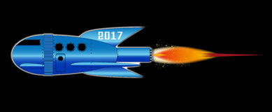 2017 Cartoon Rocket. A cartoon space craft with a black background and the text 2017 Royalty Free Illustration