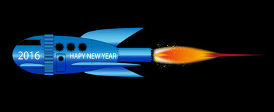 2016 Cartoon Rocket. A cartoon space craft with a black background and the text 2016 Happy New Year Royalty Free Stock Photo