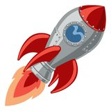 Cartoon Rocket Space Ship. A cartoon rocket space ship with booster shooting out flame stock illustration
